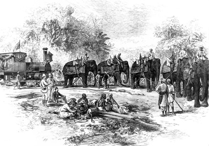 The arrival of a railway locomotive in India, 1875.