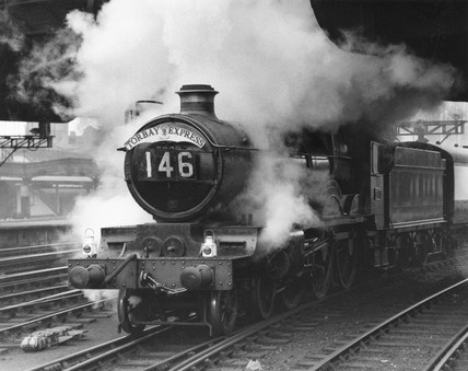 'Raglan Castle' steam locomotive, Paddington Station, 11 November 1957.