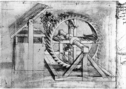 Treadmill-loaded crosbow by Leonardo da Vinci,  1470-1520.