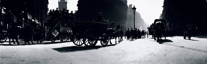 Panoramic view of a busy London street, c 1910s.