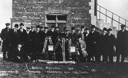Bioscope operators and asistants, Grand National, Aintree, Liverpool, 1911.