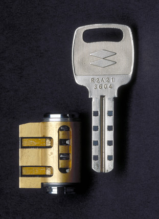 NT-MIWA cylinder lock and key, c 1990.