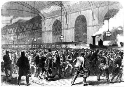 The Workmen's Penny Train arriving at Victoria Station, London 1865.