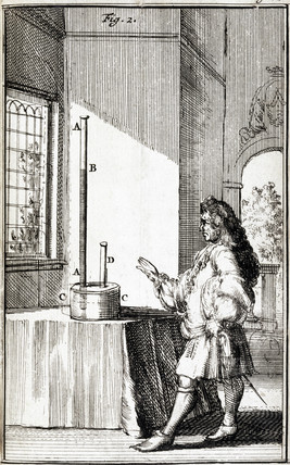 A natural philosopher studying the height of columns of mercury, 1688.