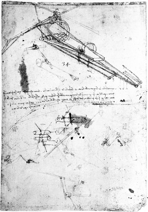 Designs for the framework of a flying machine, Leonardo da Vinci's notebook, 1470-1520.