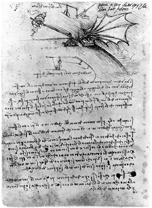 Designs for a flying machine, Leonardo da Vinci's notebook, 1470-1520.