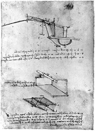 Elements of a flying machine, Leonardo da Vinci's notebook, 1470-1520.