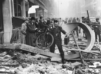 Bomb damage in a London street, Second World War, 11 October 1940.