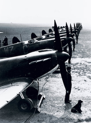 'Supermarine Spitfire fighters ready for action', 1939.