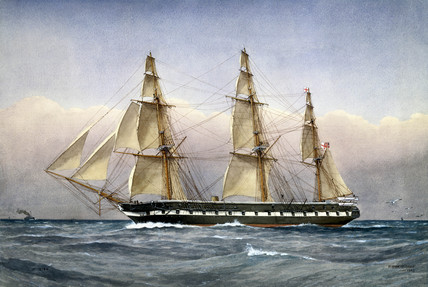 'HMS Glasgow', steam frigate, 1861.