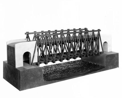 Model of Leonardo da Vinci's timber road bridge, 1470-1520.