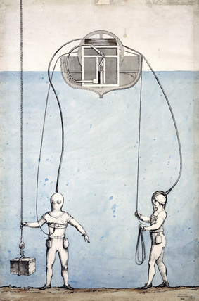 Charles Deane's diving demonstration at Portsmouth, c 1830.