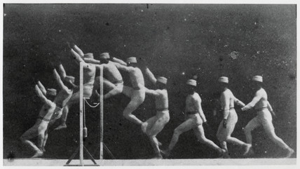 Marey's chronophotographs of a man doing a high jump, 1892.