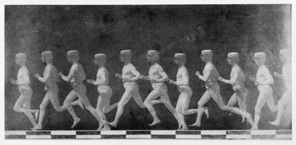 Chronophotographic pictures of a running man c 1892.