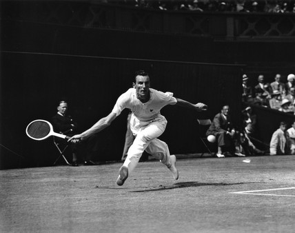 Tennis player Fred Perry in action during Wimbledon, 5 July 1935.