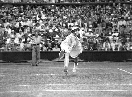 Tennis player Helen Wills Moody in action at Wimbledon, 4 July 1935.