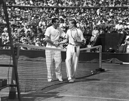 Tennis players Fred Perry and Von Cramm at Wimbledon, 5 July 1935.