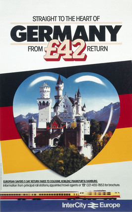 'Straight to the Heart of Germany', British Rail poster, c 1980s.