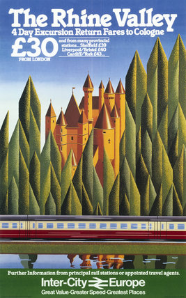 'The Rhine Valley', BR poster, c 1980s.