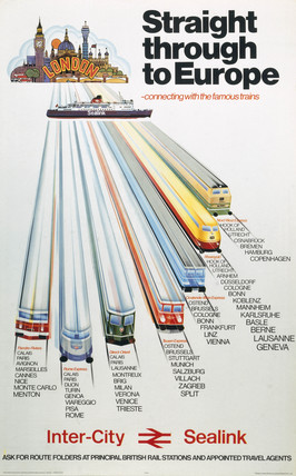 'Straight through to Europe', BR poster, c 1970s.