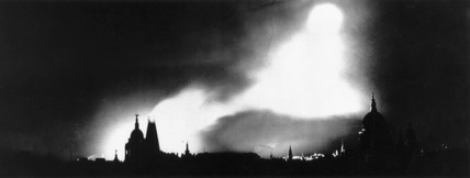 Bombs lighting the night sky over London during the Blitz, 26 August 1940.