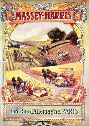 French poster advertising Masey-Harris farm machinery, 1891-1910.