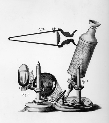 Robert Hooke's compound microscope, c 1665.
