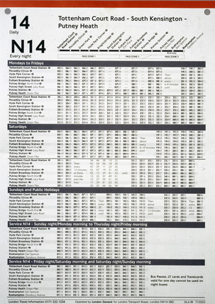 London Transport bus timetable, 1998