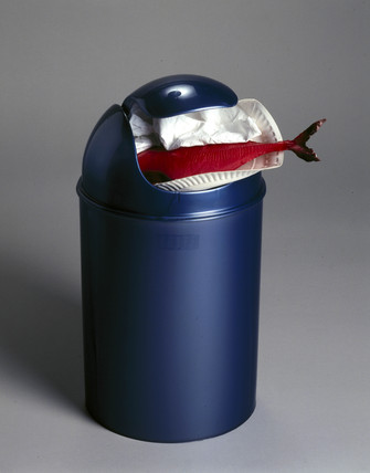 Plastic dustbin stuffed with plastic fish, 1998.