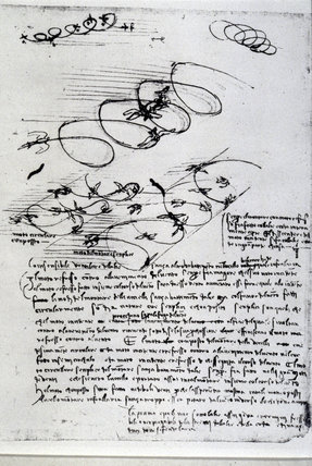 Sketches by Leonardo da Vinci on the flight of birds, 15th century.