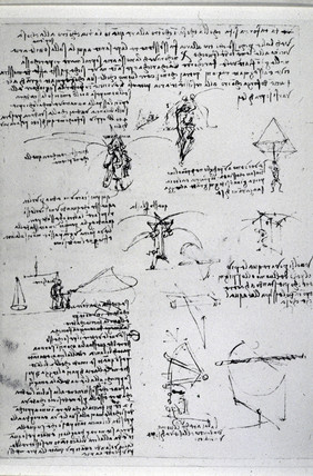 Drawings by Leonardo da Vinci of parachute experiments, 15th century.
