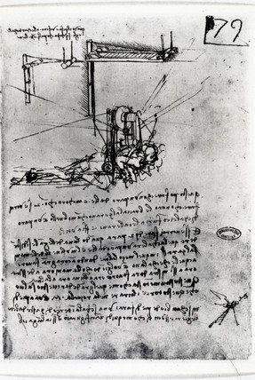Design by Leonardo da Vinci for a flying machine, c 1490.