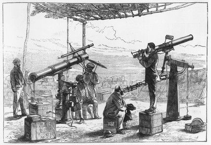 Astronomers waiting for an eclipse, India, December, 1871.