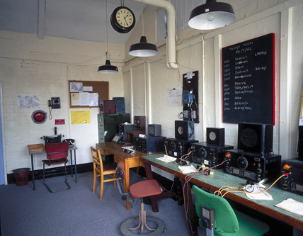 Re-creation of a radio intercept room, Bletchley Park, 1997.