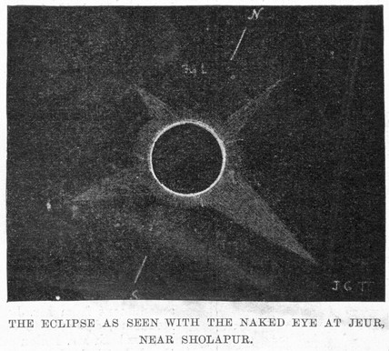 Solar eclipse, from Jeur, Maharashtra, India, 1898.