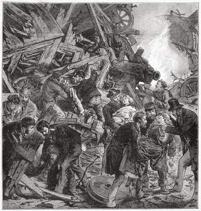 The Great Eastern Railway disaster at Thorpe near Norwich, 1874.