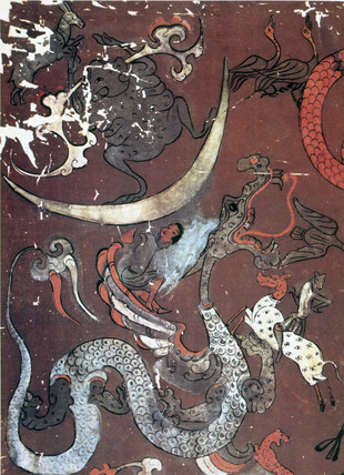 Painting of the Moon and a dragon, China, early 1st century BC.