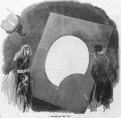 Viewing an eclipse of the sun using a projected image, 6 May 1845.