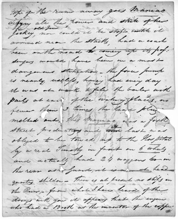 Letter from George Stephenson, English railway engineer, to W Kitching, 1829.