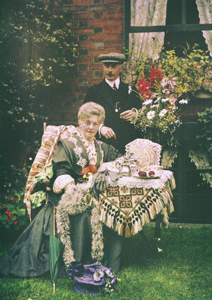Elderly couple, autochrome, c 1910.