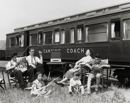 Camping coach, Cheddar Station, Somerset, 1951.