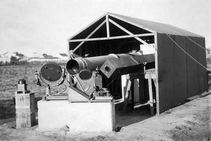 Telescope used to observe a total solar eclipse, Sobral, Brazil, 1919.