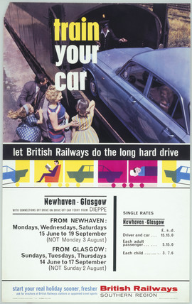 Train Your Car - Let British Railways do the Long Hard Drive', BR poster, 1964.