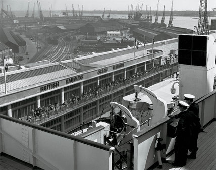 Ocean Terminal from the bridge of the 'Queen Mary', Southampton, 1950.