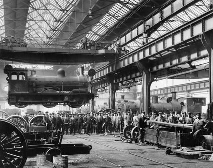 Suspended locomotive, North Eastern Railway's Gateshead Works, c 1910.