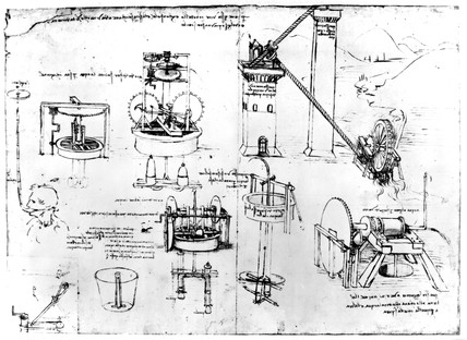 Page from da Vinci notebook illustrating pumps, late 15th century.