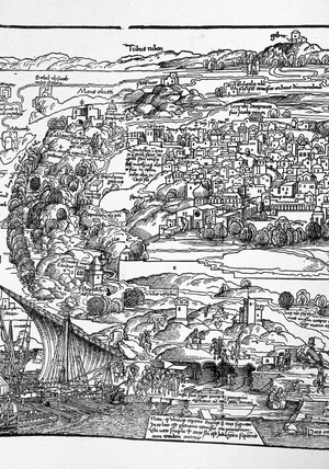 Von Breydenbach's map of Jerusalem, Palestine, 1486.