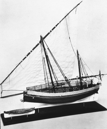 Lamu dhow 'Faida', and tender, c 1930.