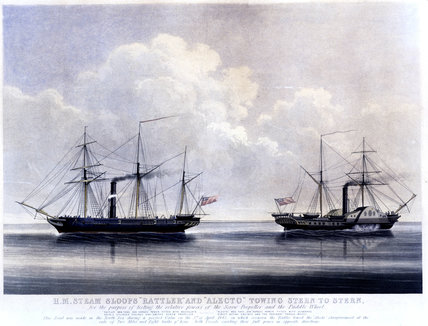 HM screw sloop 'Rattler' and HM paddle sloop 'Alecto', 1845.