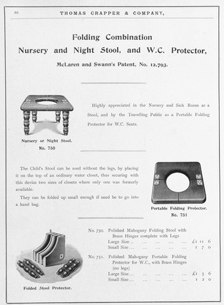 Folding Combination Nursery and Night Stool, and WC Protector', c 1902.